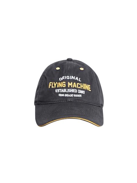 Flying Machine Men Black Embroidered Baseball Cap