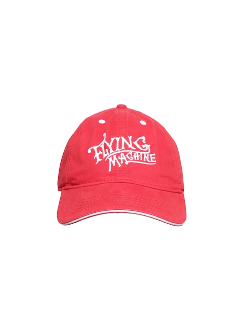 Flying Machine Men Red Embroidered Baseball Cap