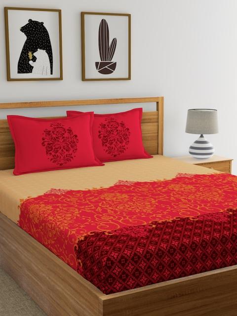 Dreamscape Orange Flat 144 TC Cotton Double Bedsheet with 2 Reverisble Pillow Covers