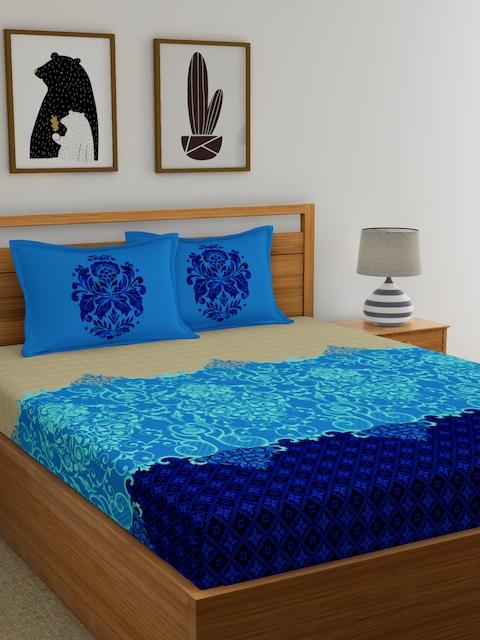Dreamscape Blue & Beige Flat 144 TC Cotton Double Bedsheet with 2 Reversible Pillow Covers