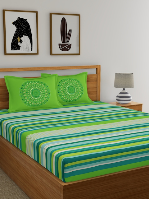 Dreamscape Green Flat 144 TC Cotton Double Bedsheet with 2 Reversible Pillow Covers