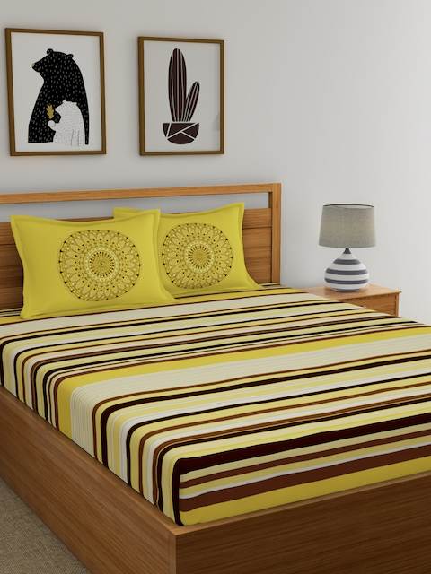 Dreamscape Brown & Beige 144 TC Cotton Double Bedsheet with 2 Reversible Pillow Covers
