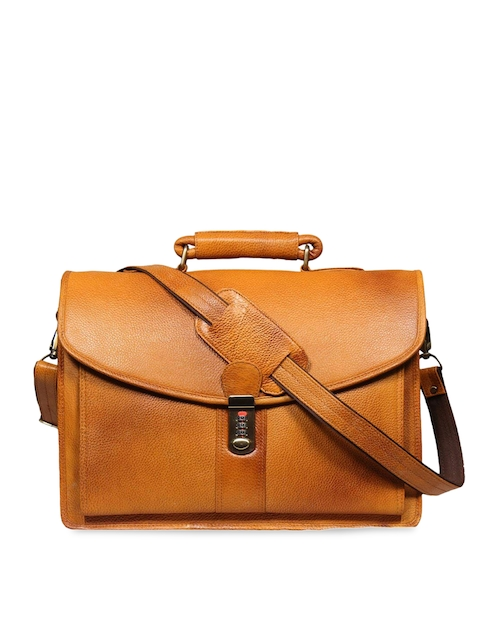 Leather World Unisex Rust Solid Laptop Bag