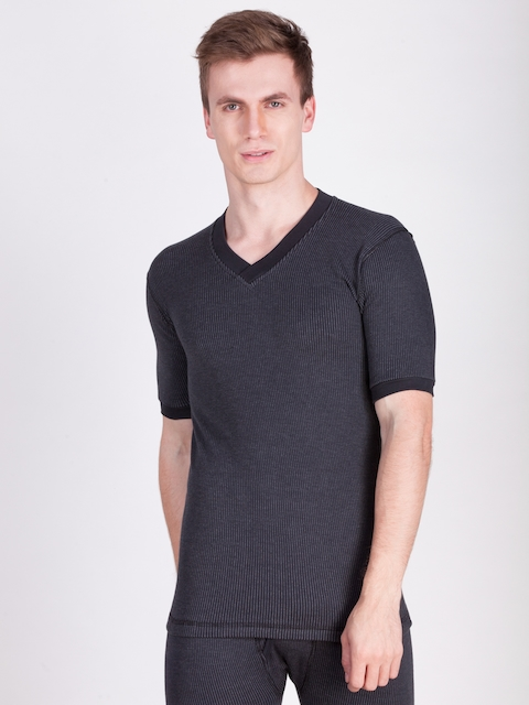Dollar Ultra Men Black Solid Regular Fit Thermal Top MUMF-2-MHS-VS