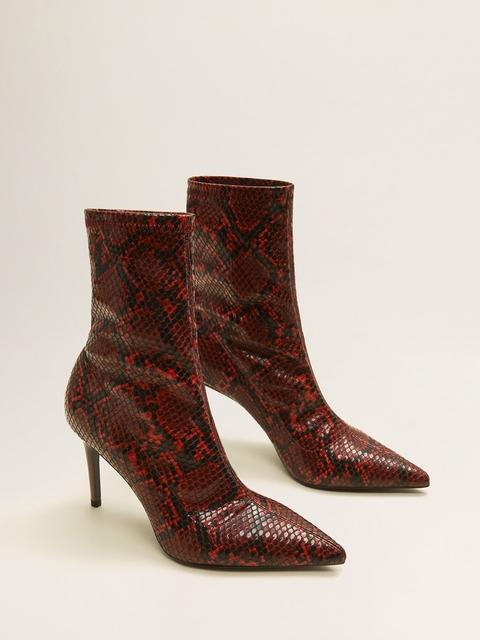 MANGO Women Red Snakeskin-Textured Heeled Boots