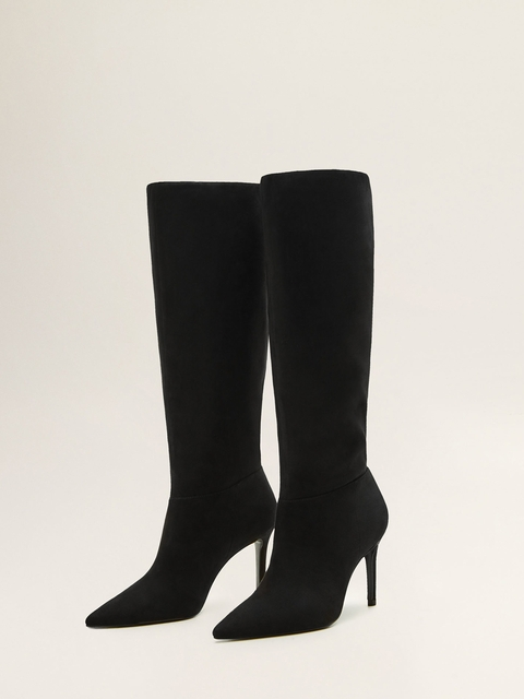 MANGO Women Black Solid Heeled Boots