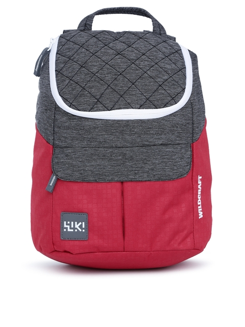 Wildcraft Unisex Grey Melange & Red Colourblocked Backpack