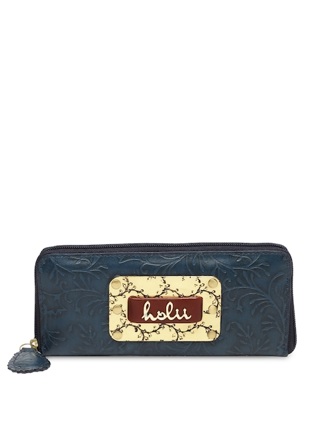 Holii Women Blue Self Design Zip Around Wallet