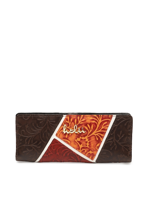 Holii Women Brown Self Design Two Fold Wallet
