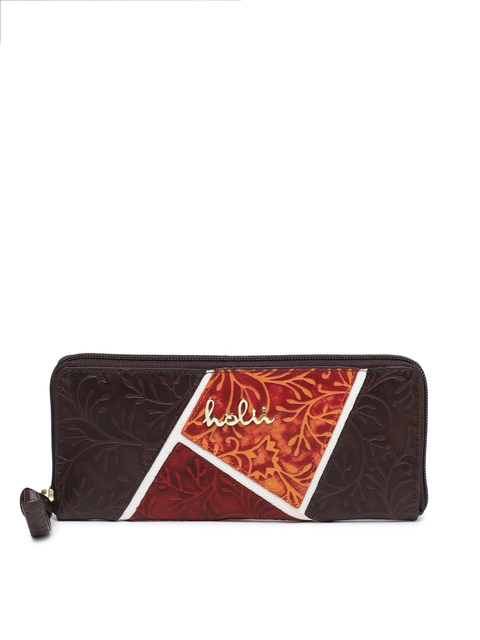 Holii Women Brown Self Design Zip Around Wallet