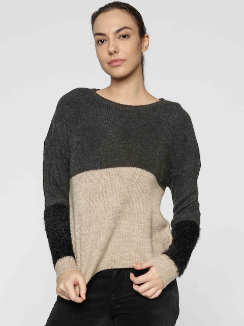 ONLY Women Beige & Charcoal Grey Colourblocked Pullover