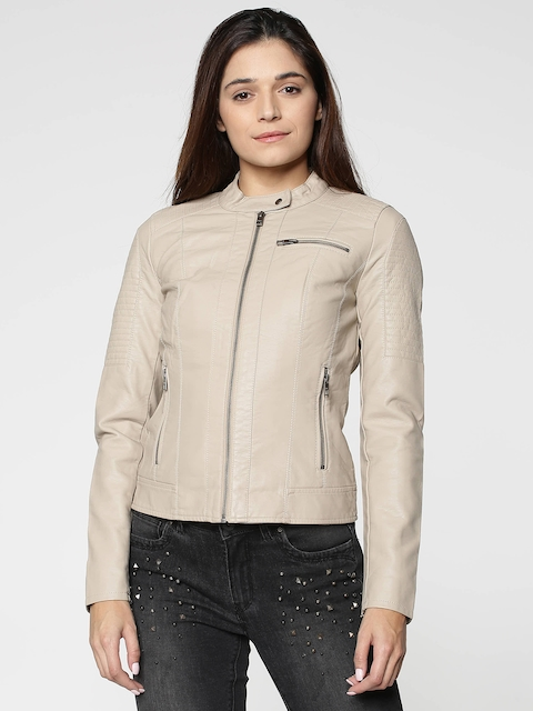 ONLY Women Beige Solid Biker Jacket