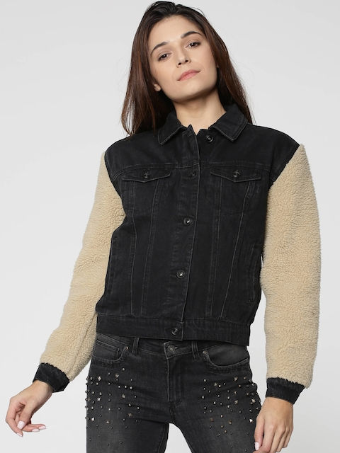 ONLY Women Black & Beige Solid Denim Faux Fur Jacket