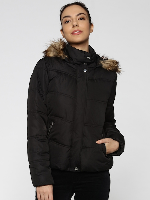 ONLY Women Black Solid Hooded Parka Jacket