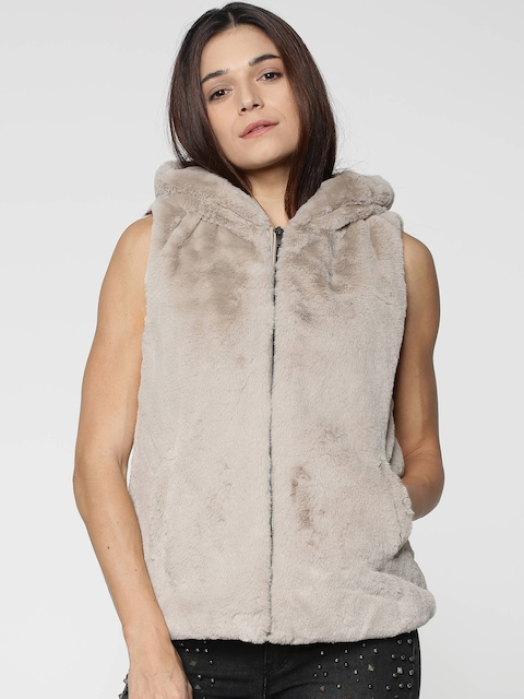 ONLY Women Beige Solid Hooded Faux Fur Tailored Jacket