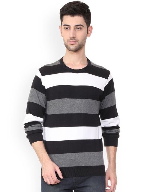 People Men Black & White Striped Pullover