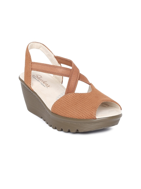 Skechers Women Tan Brown Parallel Piazza Solid Heels