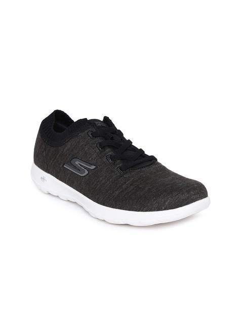 Skechers Women Black Go Walk Lite Floret Walking Shoes
