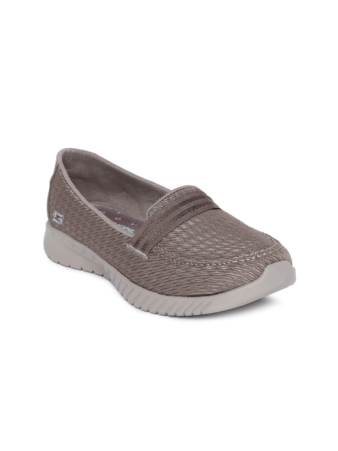 Skechers Women Taupe Woven Design Wave-Lite- Side By Side Loafers