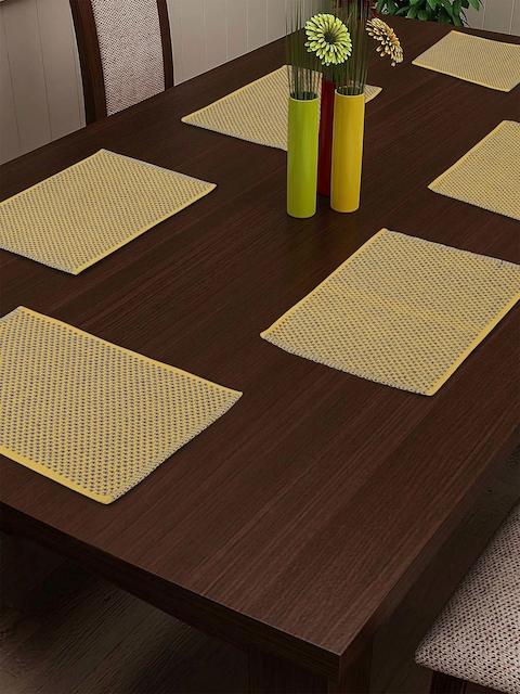 NEUDIS Set Of 6 Yellow & Blue Woven Design Table Mats