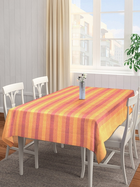 NEUDIS Yellow & Red Striped Square Table Cover