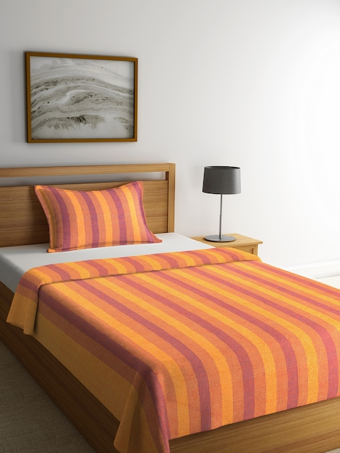 NEUDIS Yellow & Purple Striped Single Bed Cover with 1 Pillow Cover
