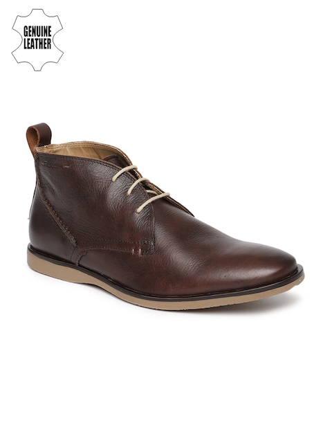 Ruosh Men Brown Solid Genuine Leather Mid-Top Flat Boots