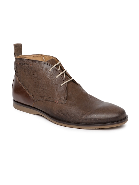 Ruosh Men Brown Solid Genuine Leather Mid-Top Desert Boots