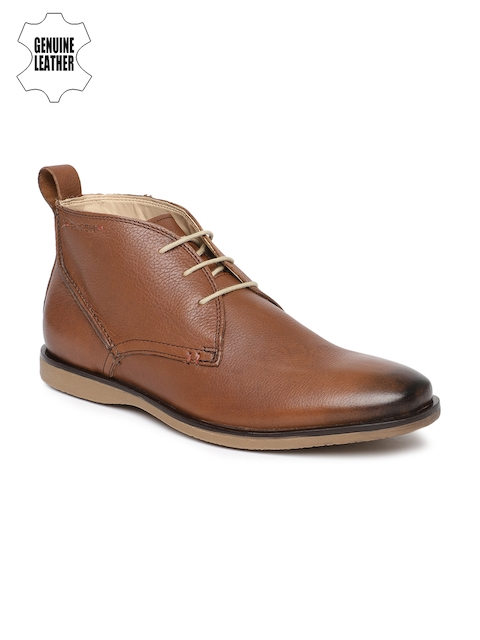 Ruosh Men Tan Brown Solid Genuine Leather Mid-Top Flat Boots