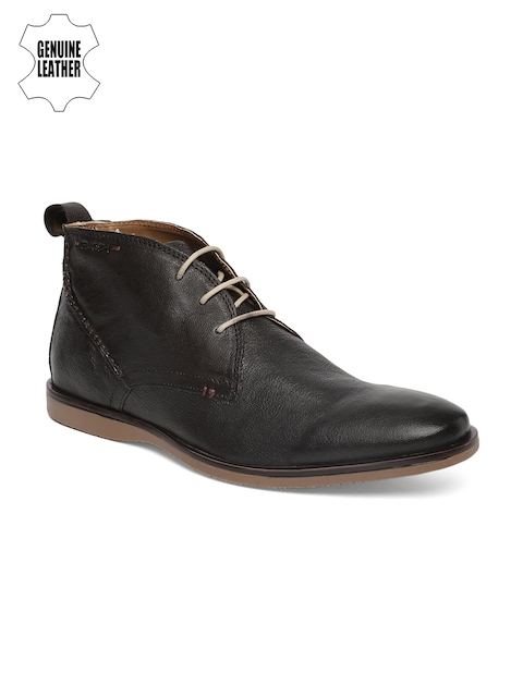 Ruosh Men Brown Solid Leather Mid-Top Flat Boots