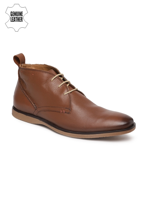 Ruosh Men Tan Brown Solid Leather Mid-Top Flat Boots