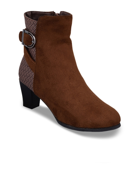 MSC Women Brown Woven Design Suede Heeled Boots