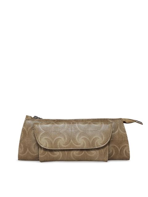 Butterflies Women Beige Textured Two Fold Wallet