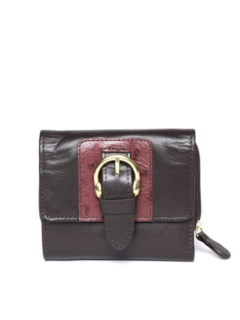 Hidesign Women Coffee Brown Solid Leather Three Fold Wallet
