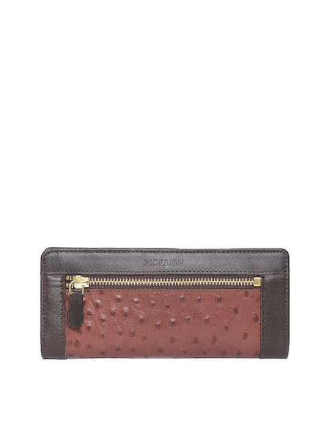 Hidesign Women Brown Textured Two Fold Leather Wallet