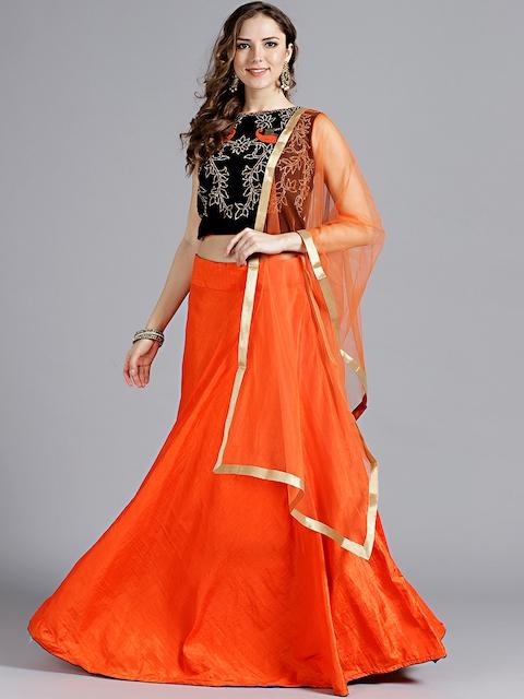 Chhabra 555 Orange & Navy Blue Solid Stitched Made to Measure Lehenga Choli