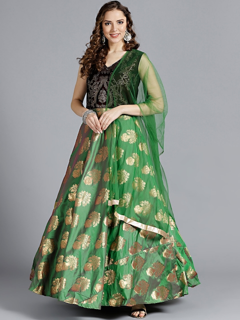 Chhabra 555 Women Maroon & Green Stitched Made to Measure Cocktail Gown with Dupatta