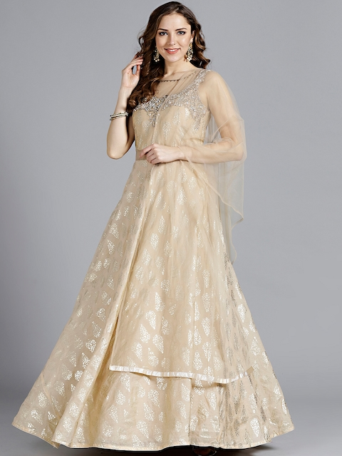 Chhabra 555 Beige & Golden Printed Stitched Made to Measure Cocktail Gown with Dupatta