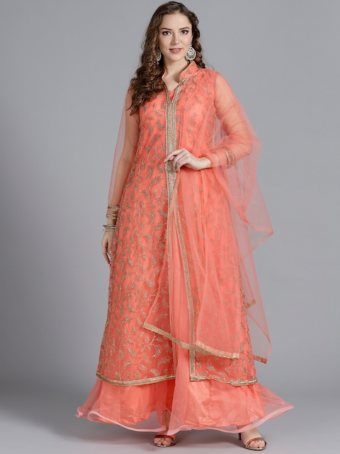 Chhabra 555 Women Peach-Coloured Stitched Made to Measure Cocktail Gown with Dupatta