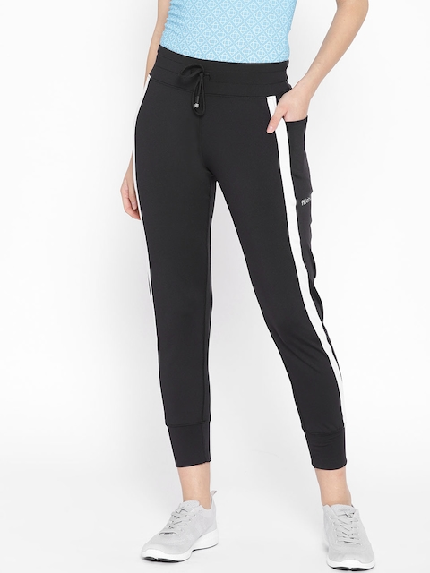 Fitkin Women Black Solid Cropped Joggers