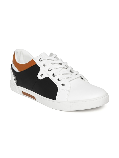 Flying Machine Men Off-White & Black Colourblocked Sneakers