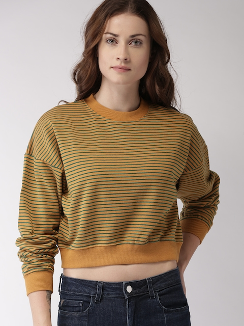 FOREVER 21 Women Mustard & Green Striped Cropped Sweatshirt