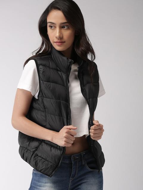 FOREVER 21 Women Black Solid Sleeveless Puffer Jacket
