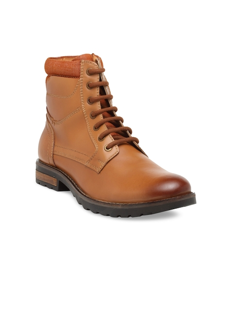 Teakwood Leathers Men Tan Solid Leather High-Top Flat Boots