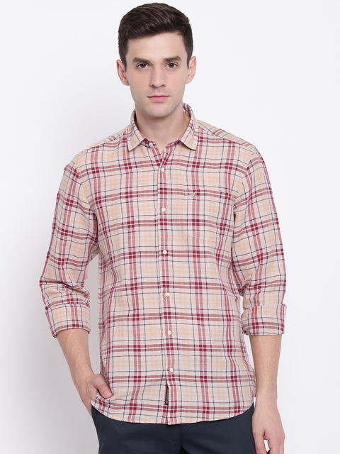 Blackberrys Men Beige & Maroon Slim Fit Checked Casual Shirt