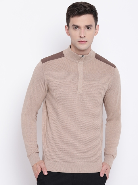Blackberrys Men Beige Self Design Pullover