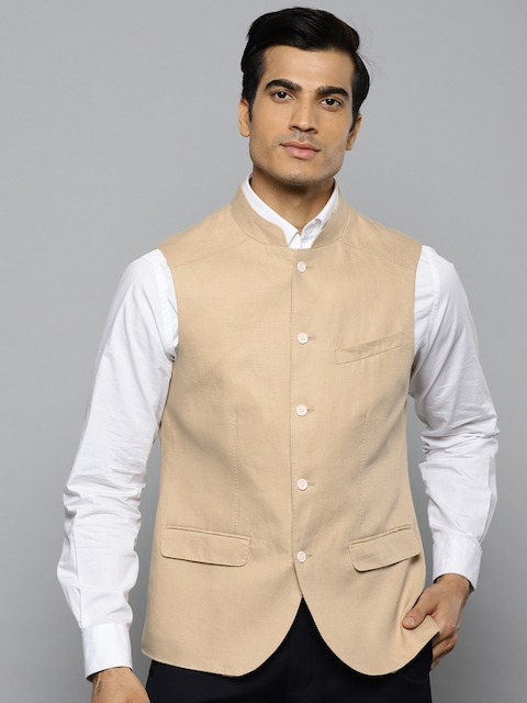 Blackberrys Men Beige Slim Fit Solid Linen Nehru Jacket