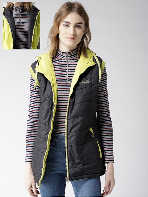 Fort Collins Women Black & Lime Green Solid Reversible Hooded Padded Jacket
