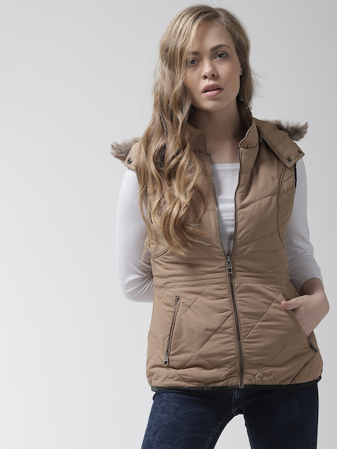 Fort Collins Women Khaki Solid Quilted Jacket