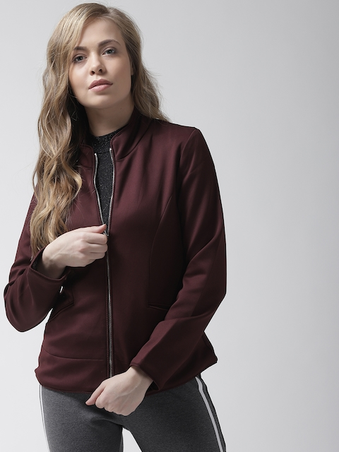 Fort Collins Women Maroon Solid Tailored Jacket